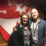 Antonella Sanderson in the Triple J studio with 'The Hook Up' host James Findlay.