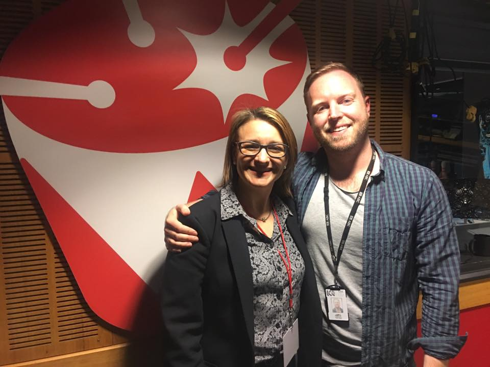Antonella Sanderson in the Triple J studio with 'The Hook Up' host James Findlay.